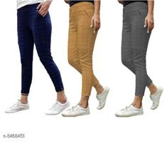 Jeggings Fashionable Lycra Women's Jeggings (Pack Of 3) Fabric: Lycra Size: Up To 28 in To 34 in ( Free Size ) Length: Up To 38 in Type: Stitched Description: It Has 3 Pieces Of Women's Jeggings Pattern:  Checkered Country of Origin: India Sizes Available: Free Size, 28, 30, 32, 34, 36 *Proof of Safe Delivery! Click to know on Safety Standards of Delivery Partners- https://ltl.sh/y_nZrAV3  Catalog Rating: ★4 (5278)  Catalog Name: Athena Fashionable Lycra Women'S Jeggings Combo Vol 18 CatalogID_482677 C79-SC1033 Code: 706-3468451-