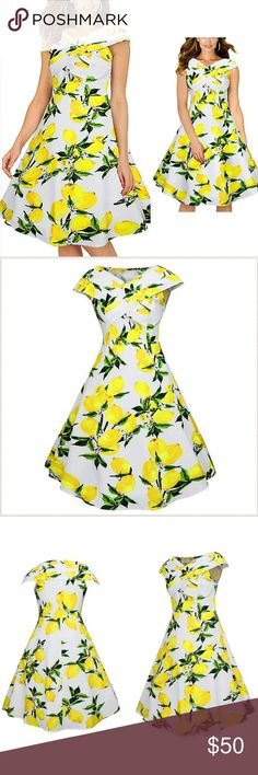 NWT Lemon Print Vintage Style Swing Dress This beautiful lemon print on a fresh white background is so on trend for spring/summer! Can be worn to a casual beach party or formal dance! Super flattering pleated criss cross neckline and cap sleeves. Invisible side zip. Unlined. Material is a light polyester with a tiny bit of stretch so comfortable for the warmer months ahead. Brand new! Never worn! See measurements above.  {Materials} 95% Polyester 5% Spandex Dresses