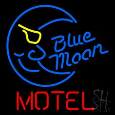 Blue Moon Motel Neon Sign 24 Tall x 24 Wide x 3 Deep, is 100% Handcrafted with Real Glass Tube Neon Sign. !!! Made in USA !!!  Colors on the sign are Yellow, Blue and Red. Blue Moon Motel Neon Sign is high impact, eye catching, real glass tube neon sign. This characteristic glow can attract customers like nothing else, virtually burning your identity into the minds of potential and future customers.
