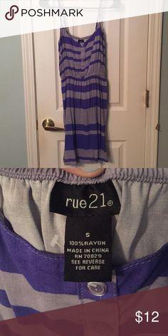 Rue 21 Spaghetti Strapped Purple Stripe Dress Rue 21 Size Small Purple Striped Dress Rue 21 Dresses Midi