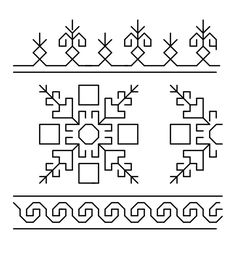 I am posting this border pattern which I had designed for sleeves of a blouse the details of which are here. Kasuti Embroidery, Phulkari Embroidery, Cross Stitch Embroidery, Cross Stitch Patterns, Hand Embroidery Tutorial, Embroidery Flowers Pattern, Embroidery Designs, Blackwork Cross Stitch, Cross Stitching