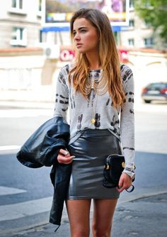 Black leather skirt + print long sleeved top