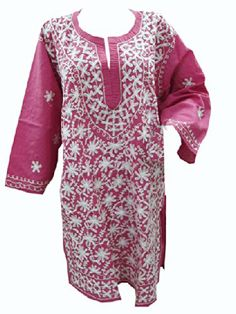 Bohemian Tunic Pink Floral Embroidered Cotton Kurti for Womens Xl #mogulinteriordesigns @ http://www.amazon.com/dp/B00KNQ061Y