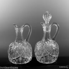 Pair 2 Georgia Belle Western Star Pattern Crystal Cruets US Glass Co Communion
