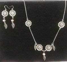 """SET Bronze Earrings 34"""" necklace or pick length, Swarovski Crystal, perfect gift Seller information grammytammyscreations (376 ) $10 FREE SHIPPINNG"""