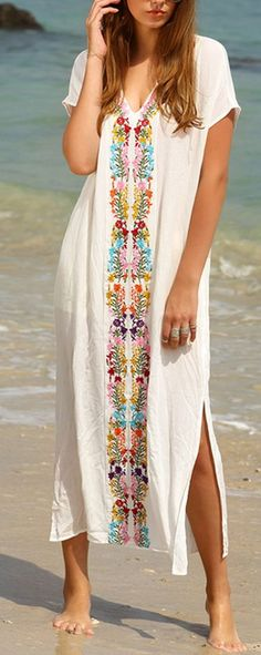 White Floral Embroidery Irregular V-neck Short Sleeve Maxi Dress
