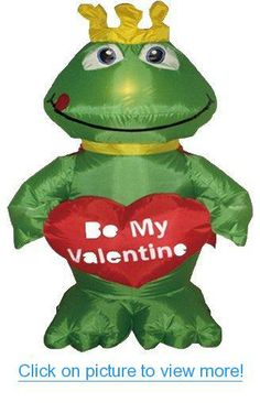 4 Foot Valentine's Day Inflatable Frog King with Sweet Heart Yard Decoration