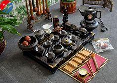 Boutique Yingxing ZISHA tea pot set Purple clay tea set solid wood teatray 45pcs