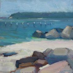 "'Rocky Sea' - 6""x6"" original seascape oil painting for sale by Maryann Lucas"