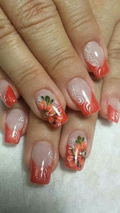 Flower Nails Many Photos and Ideas Fall Nail Art Designs, French Nail Designs, Creative Nail Designs, Colorful Nail Designs, Toe Nail Designs, Elegant Nail Art, Beautiful Nail Art, Valentine Nail Art, Pedicure Designs