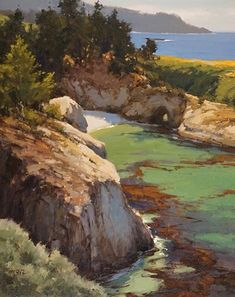 Fall at China Cove, Pt Lobos by Brian Blood Oil ~ 30 x 24 Landscape Art, Landscape Paintings, Sea Paintings, Sea Drawing, Mountain Waterfall, River Painting, Watercolor Pictures, Classic Paintings, Beach Scenes
