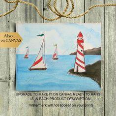 Nautical Wall Art, Nautical Nursery, Nautical Theme, Nursery Themes, Nursery Wall Art, Nursery Decor, Lighthouse Art, Boys Room Decor, Sailboats