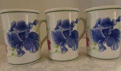 Lynn Chase Flores Coffee Mugs Cups 1996  Set of 3 Blue Iris #LynnChase