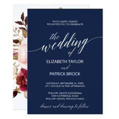 Elegant Navy Calligraphy | Floral Backing Wedding Card - blue gifts style giftidea diy cyo