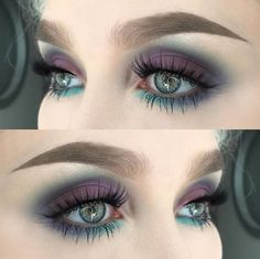 Fascinating purple eye makeup look for green eyes