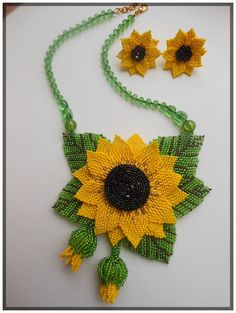 Set Beaded Sunflower by BeadedJewelryVirunia on Etsy