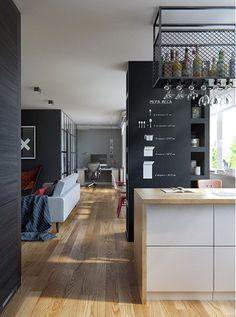 Apartamento com integração entre sala de estar/tv, sala de jantar e cozinha. No fundo o quarto (fechado), homeoffice e varanda. A pilastra/estante que separa a cozinha da sala de jantar, abriga livros de um lado e, na parte voltada pra cozinha, temperos. #INT2architecture #clickinteriores #DecoraçãoMasculina