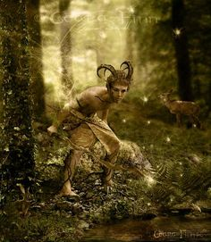 Satyr - These companions of Dionysus are often portrayed as having horse or goat like attributes, and are always known for their love of wine, women, and song.  They are magical creatures, (or perhaps minor deities,) associated with lust, and are know for whisking away mortal women whenever they have the chance.