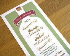 Modern Vineyard Wedding Invitation  'Wine by twoforjoypaper, $3.50