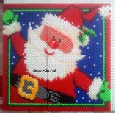 Santa Claus Christmas frame hama perler beads (34.5 x 34.5 cm)  by deco.kdo.nat