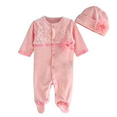 df1c538bc Princess Style Newborn Baby Girl Clothes Girls Lace Rompers+Hats ...