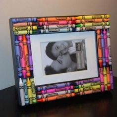 Teacher Appreciation Gift - glue new crayons onto an inexpensive wooden frame. I used hot glue gun on an unfinished wooden frame from Walmart craft department.