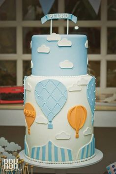 Hot Air Balloon themed baby shower with So Many Darling Ideas via Kara's Party Ideas