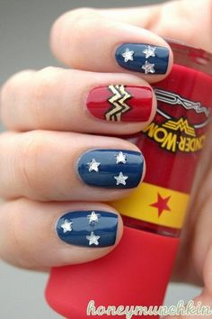 Wonder Woman Nails. I love this so much!