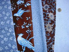 Stoffpaket Blumen Vogel blau braun B13 Stoffpaket