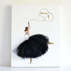 Personalized Dressi Diva (Sofia Style) - Add baby name & age - personalized nursery decor – ballerina canvas art balck tutu- shenasi concept - Nursery Art, Nursery Decor, Nursery Canvas, Wall Decor, Diy Art, Art Drawings, Art Projects, Canvas Art, Arts And Crafts