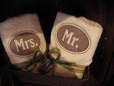 Mr & Mrs embossed monogrammed towels