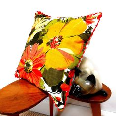Vintage Fabric Cushion retro 60s 70s yellow flower by audreyscat, £20.00