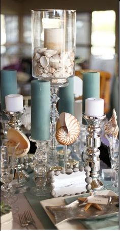 Beautiful table scape for a beach wedding Beach Wedding Centerpieces, Beach Wedding Reception, Nautical Wedding, Wedding Decorations, Table Decorations, Beach Weddings, Wedding Ideas, Seashell Wedding, Reception Ideas