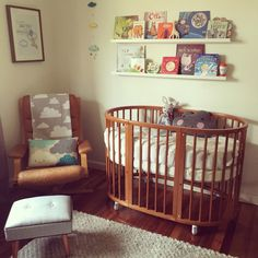 Nursery, stokke cot, G Mobel reclining leather armchair, Ikea Ribba shelves
