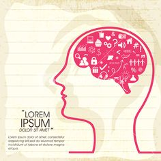 Illustration of human brain thinking about various things on notebook paper background. Stock Image