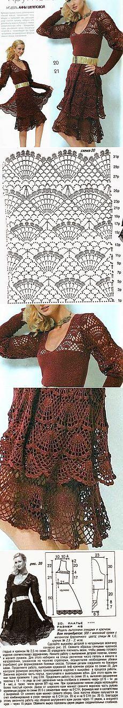 Вязание: Ажурное платье. Спицы + крючок
