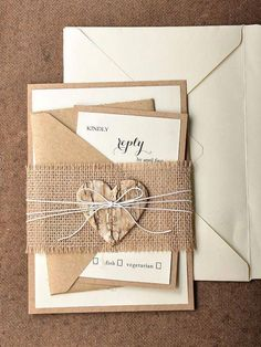 rustic/modern pocket DIY wedding invitation suitewith lace burlap for beach wedding2019 spring fall or winter rustic wedding ideas