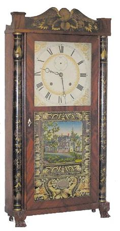 Mahogany veneer column & splat shelf clock by Eli Terry & Sons, circa 1828