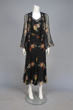 BEADED and PRINTED CHIFFON DRESS, 1930s.