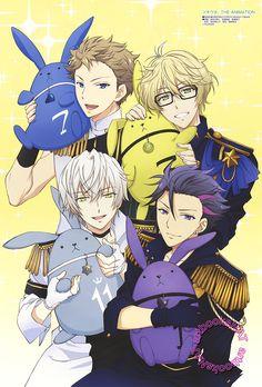 Procellarum's Kai Fuzuki and Shun Shimotsuki with Haru Yayoi and Hajime Mutsuki of Six Gravity (+ bunnies) from Tsukiuta  in the August Otomedia Magazine