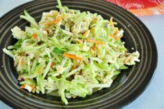 Oriental Ramen Broccoli Coleslaw. I like it better when I added an additional packet of ramen seasoning and increased the vinegar to 1/2 cup. It is addictive!