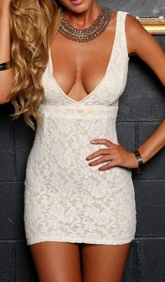 White Deep V Neck Lace Bodycon Dress. Fashion : Dresses : White Deep V Neck Lace Bodycon Dress - See more at: http://spenditonthis.com/listing-40047-white-deep-v-neck-lace-bodycon-dress.html#sthash.dOUElR0M.dpuf