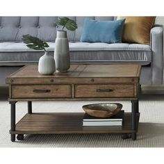 Solid Wood Rectangular Coffee Table by Heartwood Crossing, Brown Coffee Table Metal Frame, Coffee Table With Storage, Table Storage, Furniture Making, Living Room Furniture, Home Furniture, Table Furniture, Furniture Ideas, Outdoor Furniture