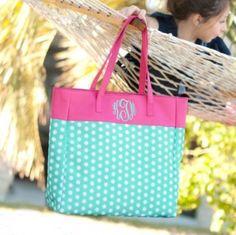 2c90cf4fcb5a Image Pink Polka Monogrammed Tote Bag Personalized Tote Bags