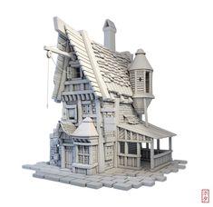 ArtStation - Game Ready Little House, Hota Aisa 3d Fantasy, Fantasy House, Environment Concept Art, Environment Design, Classical Architecture, Architecture Design, 3d Building Models, House 3d Model, Cartoon House