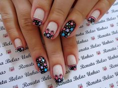 55 Modelos de Unhas Decoradas com bolinhas para te inspirar Love Nails, Pretty Nails, My Nails, Gel Nail Art Designs, Cute Nail Designs, Ring Finger Nails, Seasonal Nails, Polka Dot Nails, Cool Nail Art