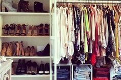 """""""My walk-in closet in my LA apt. Currently featuring my spring/summer wardrobe."""" [via Song of Style] Closet Bedroom, Closet Space, Closet Redo, Master Closet, Huge Closet, Loft Closet, Tiny Closet, First Apartment, Apartment Living"""