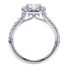 14k White Gold Diamond Halo Engagement Ring | Gabriel & Co NY | ER6872W44JJ