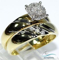 18k Yellow Gold Round Solitaire Engagement Ring Wedding Band Bridal Set 1.56 Ct. #aonejewel