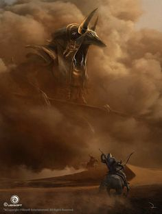 View an image titled 'Anubis God Battle Art' in our Assassin's Creed Origins art gallery featuring official character designs, concept art, and promo pictures. Dark Fantasy Art, Foto Fantasy, Arte Assassins Creed, Assassins Creed Origins, Assassins Creed Tattoo, Fantasy Creatures, Mythical Creatures, Digital Art Illustration, Concept Art World